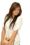 Menina da escola com livro Fotografia de Stock Royalty Free