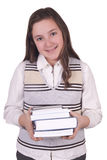 Menina da escola que guarda livros Fotos de Stock