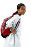 A menina da escola traz o saco Imagens de Stock
