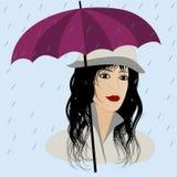 Menina da forma com o guarda-chuva sob a chuva ilustração stock