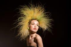 Menina da forma com penteado original Imagem de Stock Royalty Free