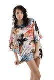 Menina da forma com vestido da cor Fotografia de Stock Royalty Free