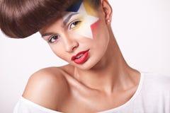 Menina da forma do close up com composição brilhante Fotografia de Stock Royalty Free