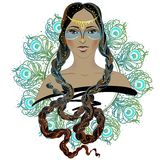 Menina da forma do estilo de Boho Mulher indiana da beleza Ilustração do vetor Foto de Stock Royalty Free
