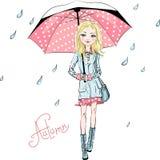 Menina da forma do vetor na roupa do outono ilustração royalty free