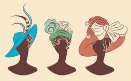 Menina da forma do vintage no chapéu. ilustração stock