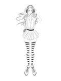 Menina da forma Esboço preto e branco Imagem de Stock Royalty Free