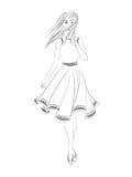 Menina da forma Esboço preto e branco Fotografia de Stock Royalty Free