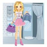 A menina da forma escolhe a roupa Ilustração do Vetor