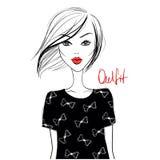 Menina da forma Menina bonito Menina do esboço Modelo novo Menina à moda ilustração royalty free