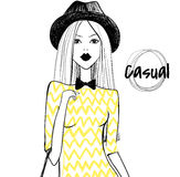 Menina da forma Menina bonito Menina do esboço Modelo novo Menina à moda ilustração do vetor