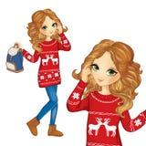 Menina da forma na camiseta do Natal Ilustração do Vetor