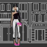 Menina da forma nas ruas Imagem de Stock