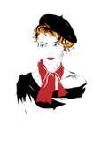 Menina da forma no esboço-estilo Imagem de Stock Royalty Free