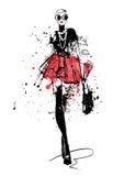 Menina da forma no esboço-estilo ilustração stock