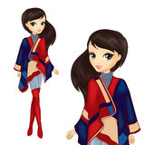 Menina da forma no poncho à moda Imagem de Stock