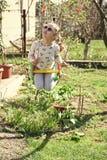 A menina da forma nos óculos de sol aprecia balançar no dia ensolarado Criança pequena no balanço na jarda do verão Criança da be fotos de stock royalty free
