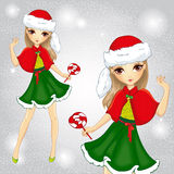 Menina da forma vestida como Santa Claus Holding Candy Ilustração Royalty Free