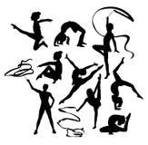 Menina da ginasta com silhuetas da fita ilustração stock