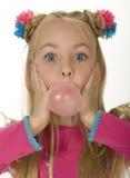 Menina da goma de bolha Imagem de Stock Royalty Free