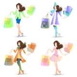 Menina da ilustração do vetor no grupo do dia da compra Imagens de Stock Royalty Free