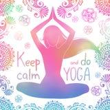 Menina da ioga com teste padrão Imagem de Stock Royalty Free