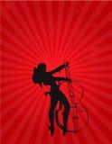 Menina da música com guitarra e iluminação Imagens de Stock Royalty Free