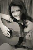 Menina da música preto e branco Foto de Stock