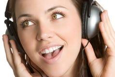 Menina da música dos auscultadores Imagem de Stock Royalty Free