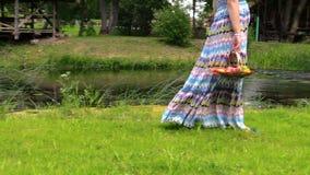 A menina da mulher gravida leva a cesta com frutos frescos perto do rio Fotos de Stock
