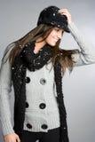 Menina da neve do inverno Imagens de Stock