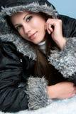 Menina da neve do inverno Foto de Stock Royalty Free