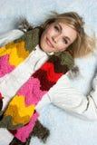 Menina da neve do inverno Fotos de Stock Royalty Free