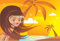 Menina da praia no por do sol ilustração do vetor