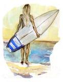 menina da ressaca no mar Foto de Stock Royalty Free