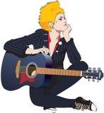 Menina da rocha com guitarra acústica Fotografia de Stock