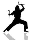 Menina das armas do karaté ilustração stock
