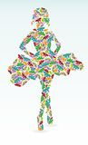 menina das borboletas coloridas abstratas Foto de Stock Royalty Free