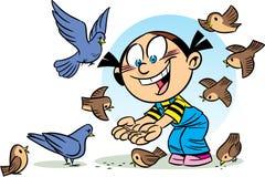Menina de alimentação do pássaro ilustração royalty free