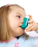 Menina de Astmatic Fotografia de Stock