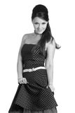 Menina de Beautyful no vestido retro preto e branco Imagem de Stock