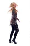 Menina de Blondie da forma da dança. foto de stock royalty free