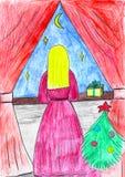 Menina de Blondie no vestido cor-de-rosa que olha a janela, tempo do Natal, desenho da criança ilustração royalty free