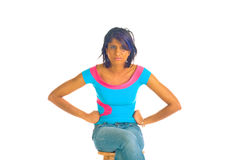 Menina de Brown que está sendo forçada Imagem de Stock