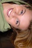 Menina de cabeça para baixo fotografia de stock royalty free