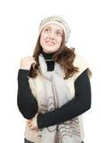 Menina de cabelos compridos na camisola e no tampão foto de stock royalty free