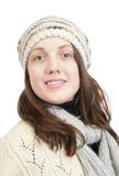 Menina de cabelos compridos na camisola e no tampão Imagens de Stock Royalty Free