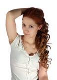Menina de cabelos compridos no branco fotos de stock royalty free