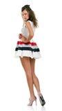 Menina de cabelos compridos no vestido branco Fotos de Stock Royalty Free