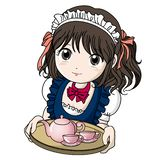 Menina de Cafe da empregada doméstica com bule ilustração royalty free